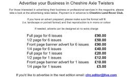 Cheshire Land Rover Club advertising and sponsorship!